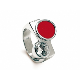 Zeades prsteň ROUMER z ušľachtilej ocele, kombinovaný s kožou a krištáľom - veľkosť 50