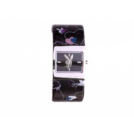 Playboy hodinky so štvorcovým kovovým púzdrom s koženým remienkom. Ciferník a aj remienok je zdobený zajačikom Playboy.