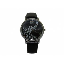Playboy hodinky s okrúhlym kovovým púzdrom s koženým remienkom.