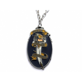 Ed Hardy náhrdelník s oválnym príveskom malovaným špeciálnou šperkárskou farbou.
