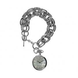 Ed Hardy okrúhle hodinky so Swarovski krištálmi s oceľovým remienkom tvare retiazky
