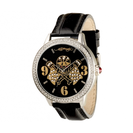 Ed Hardy okrúhle hodinky s koženým remienkom so Swarovski krištáľmi.