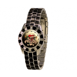 Ed Hardy okrúhle hodinky s kovovým  remienkom so Swarovski krištáľmi.