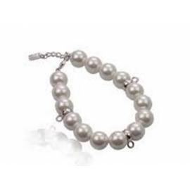 Zinzi strieborný náramok s perlami s možnosťou uchytenia príveskov s karabínkami.