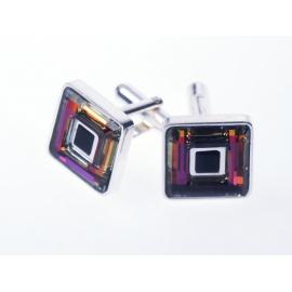 Strieborné manžetové gombíky so Swarovski Elements krištáľmi.