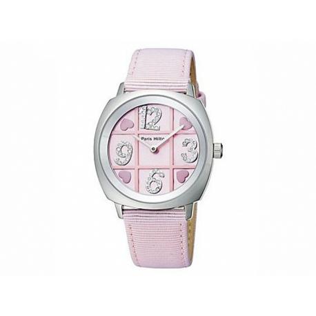 Paris Hilton hodinky s ružovým ciferníkom a s ružovým koženým náramkom, vo vnútri s číslami vykladanými krištálmi Swarovski