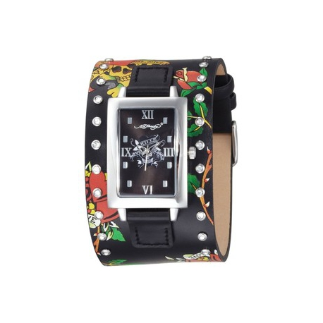 Ed Hardy obdĺžnikové hodinky s koženým remienkom so Swarovski krištáľmi.