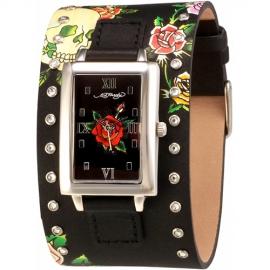 Ed Hardy obdĺžnikové hodinky s koženým remienkom so Swarovski krištáľmi
