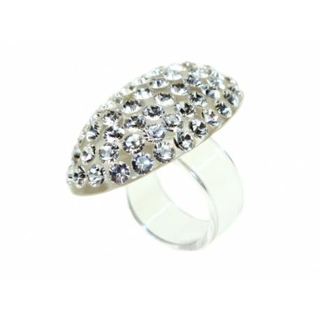 Akrylový prsteň so Swarovski Elements krištáľmi.