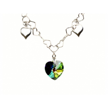 Strieborný náhrdelník so Swarovski Elements krištáľom.